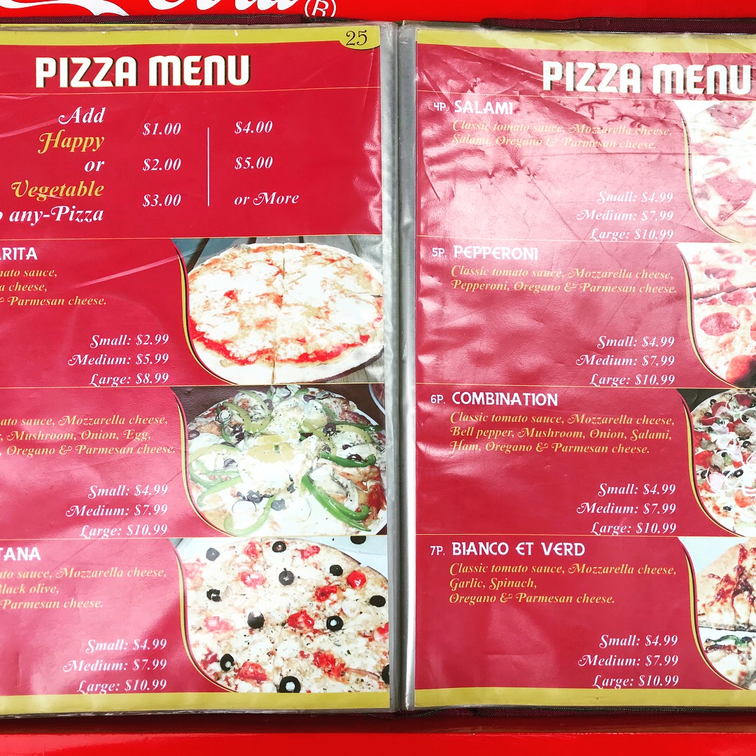 happy pizza menu