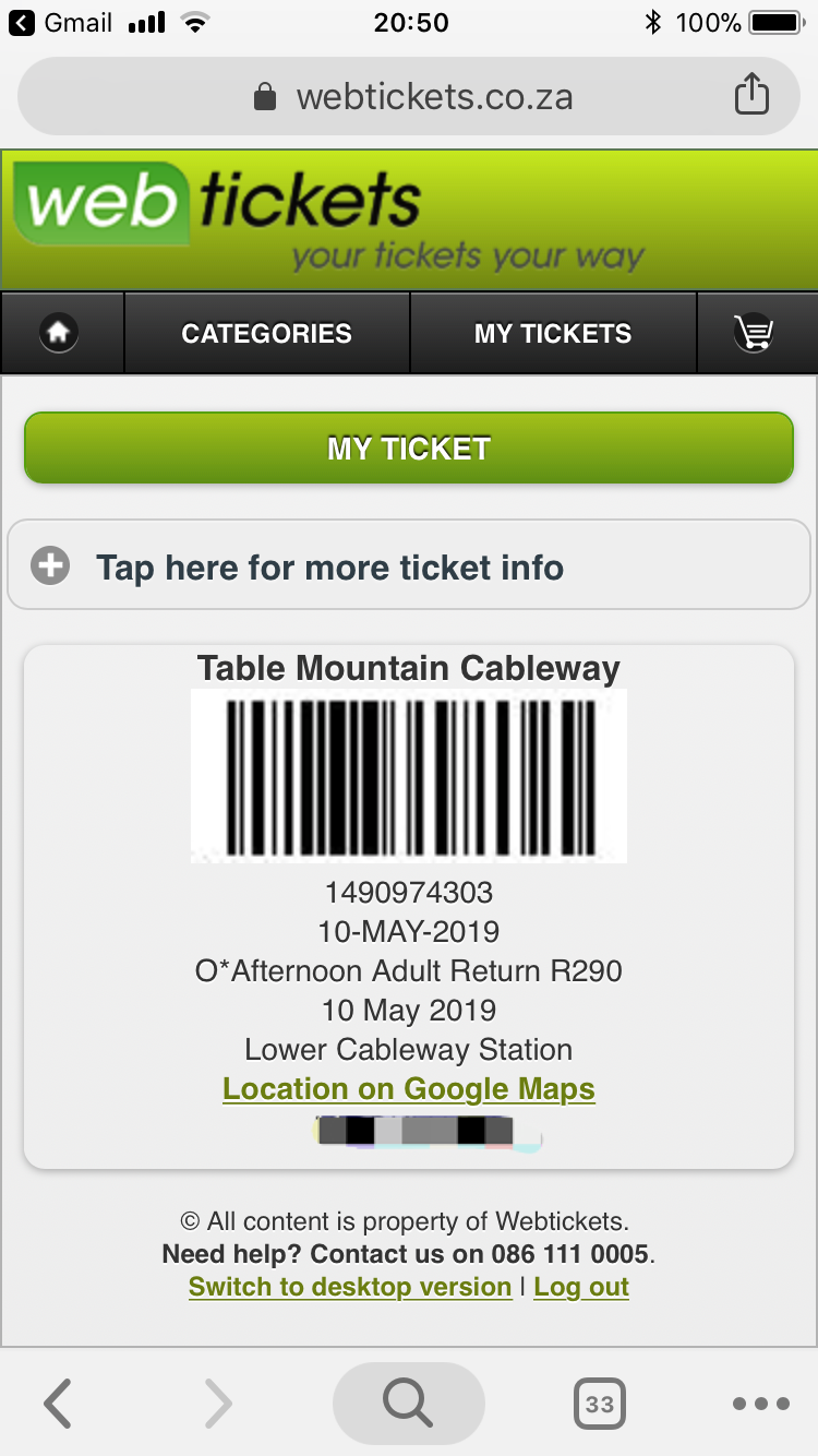 Table mountain web ticket
